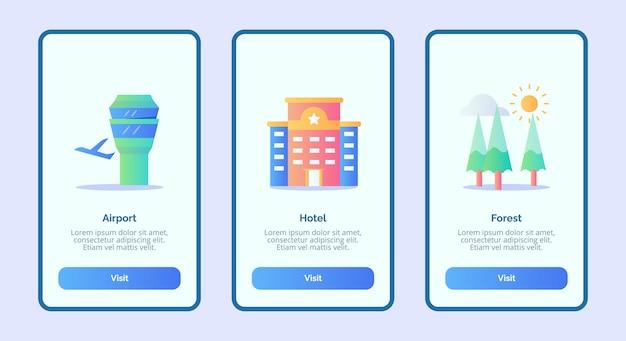 空港ホテルの森またはモバイルアプリテンプレートバナーページui Premiumベクター
