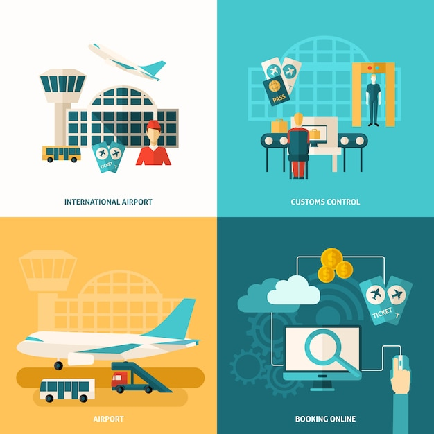 Airport icon flat Free Vector
