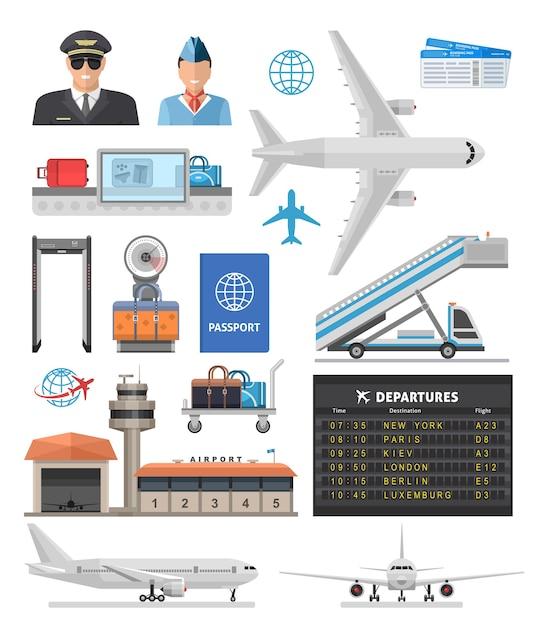 Набор иконок аэропорта с пилотом, стюардессой, самолетом и оборудованием Бесплатные векторы