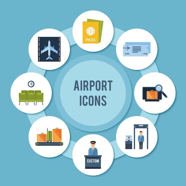Airport icons set Premium Vector