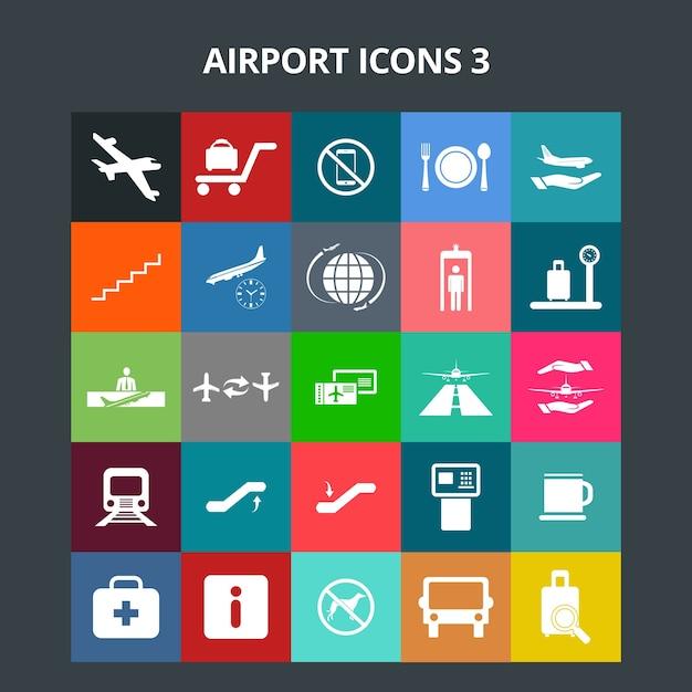 Airport icons Premium Vector