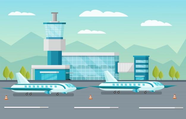 Airport illustration Free Vector