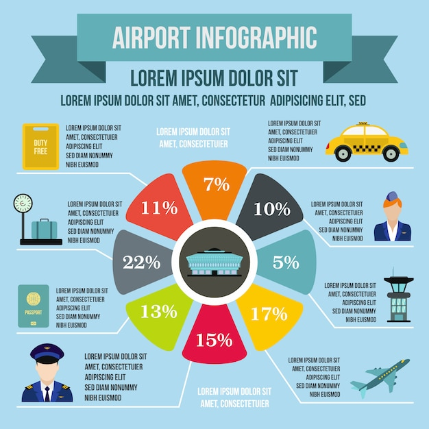 Airport infographic elements in flat style for any design Premium Vector