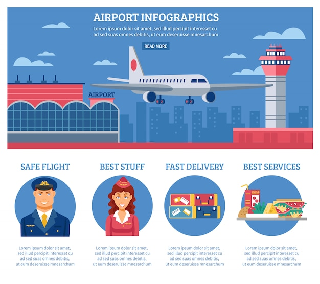 Airport infographics design template Free Vector