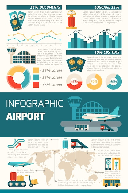 Airport infographics set Free Vector