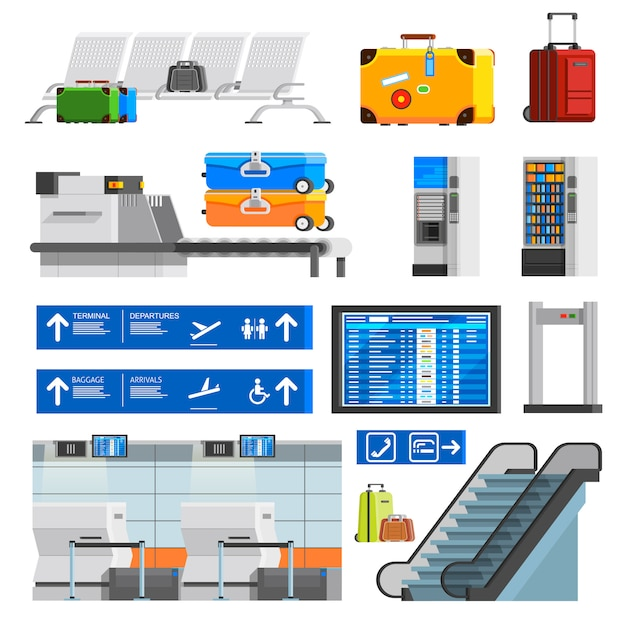 Airport interior flat color decorative icons set Free Vector