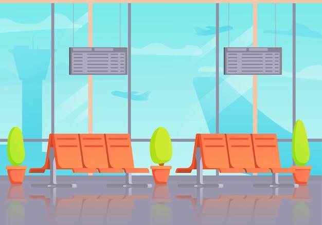 공항 내부 대기실 또는 출발. 터미널 홀 비행장. 여객기. 프리미엄 벡터