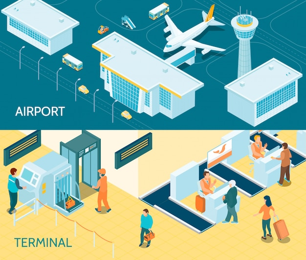 Airport isometric banners Free Vector