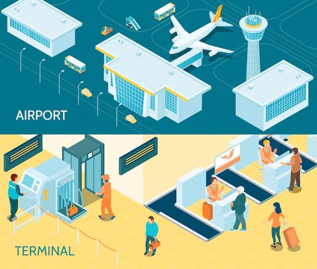 Аэропорт изометрические баннеры Бесплатные векторы