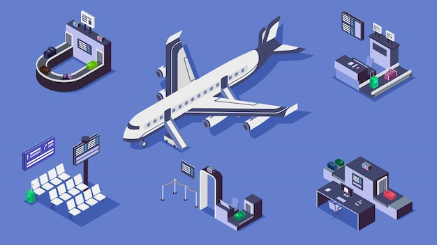 Airport isometric color illustrations set. luggage belt, commercial airplane and security checkpoint 3d concept isolated on blue background. baggage scanner, terminal and check in counter Premium Vector