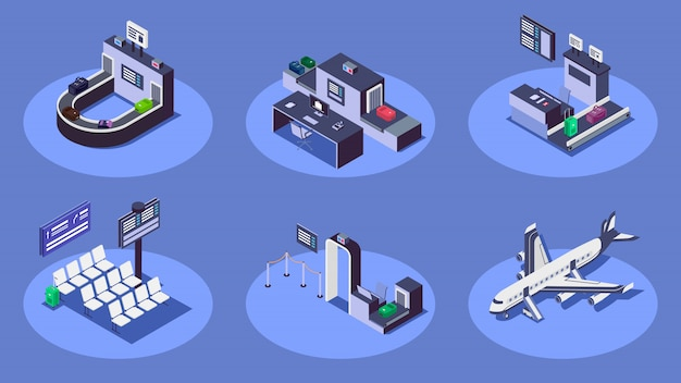 空港等尺性カラーイラストセット。現代の航空会社サービス青の背景に3 dコンセプト。チェックインカウンター、荷物スキャナー、民間航空機、セキュリティチェックポイント Premiumベクター