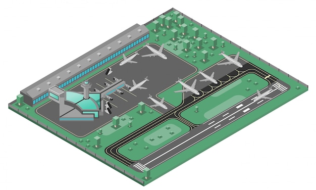 Airport isometric concept Free Vector