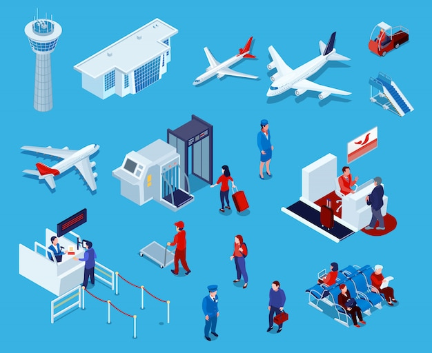 Airport isometric icons set Free Vector