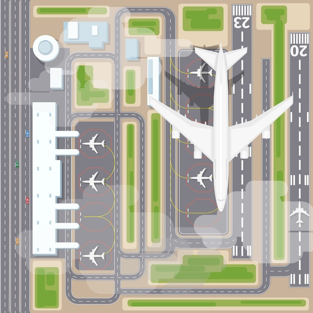 Airport landing strips top view. aircraft and airplane, arrival, transport airline. airport landing vector illustration Free Vector