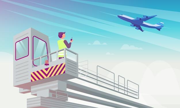 Airport manager looks at plane flat illustration. Premium Vector