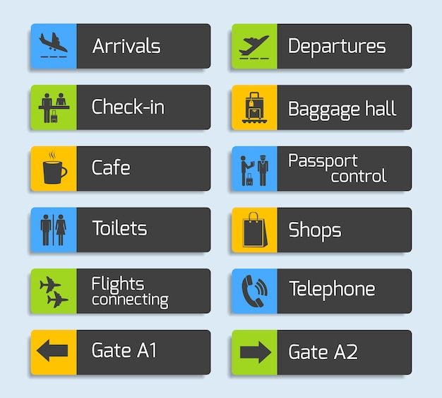 Airport navigation design signboards set Free Vector