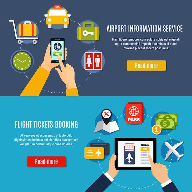 Airport online service flat banner set Free Vector
