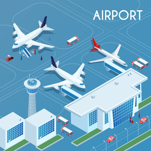 Airport outdoor isometric illustration Free Vector