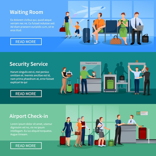 Airport people banners set of passengers in waiting room security screening Free Vector