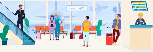 Airport people travel passengers in waiting room depature and registration service  illustration. Premium Vector