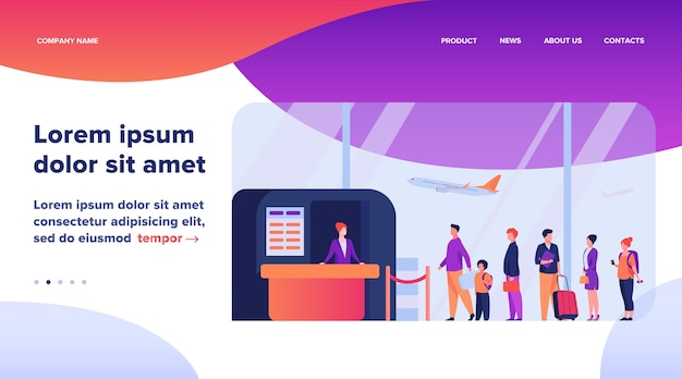 Airport queue illustration. Free Vector