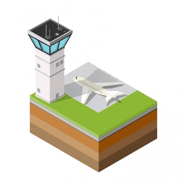 Airport runway control tower Premium Vector