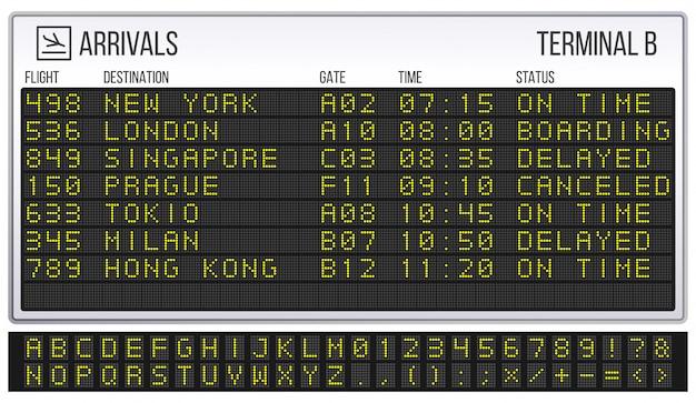 Airport scoreboard. digital led board font, arrivals and departures signs realistic  illustration Premium Vector