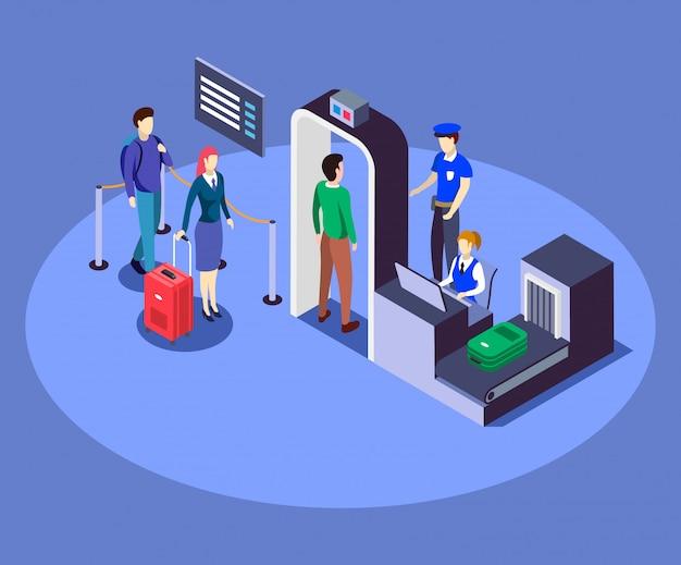 空港セキュリティチェックポイント等尺性カラーイラスト Premiumベクター