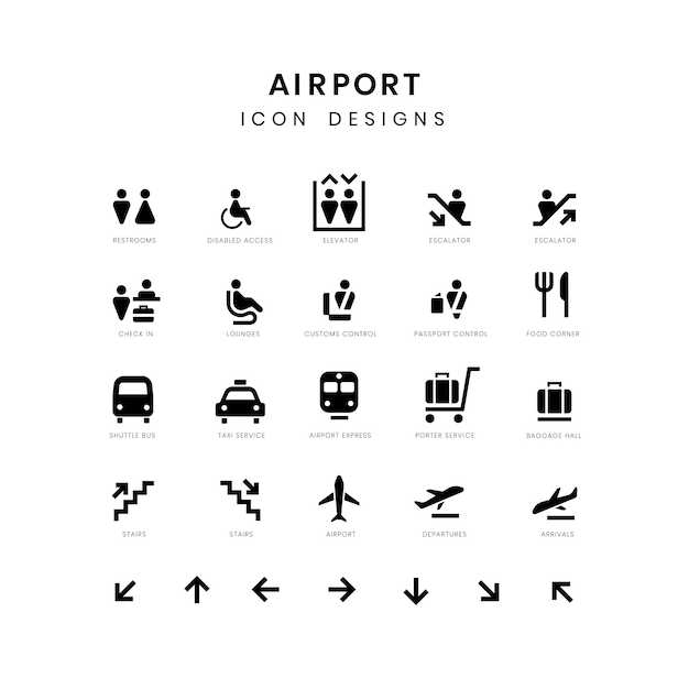 Airport service signs vector set Free Vector