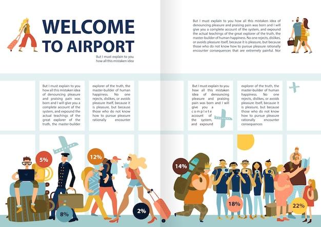 가족 싱글 관광객 그룹 늦은 승객을 여행하는 재미있는 사진이있는 공항 서비스 정보 인포 그래픽 텍스트 무료 벡터