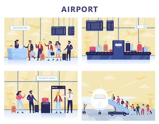 Airport set. hand holding passport and ticket Premium Vector