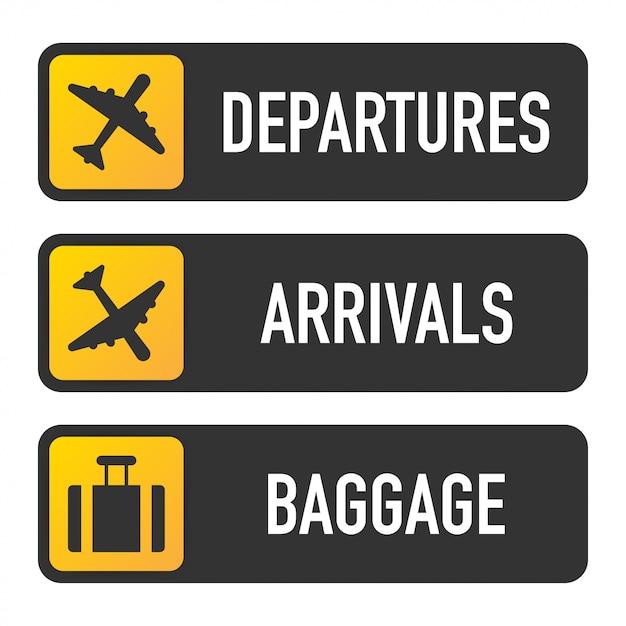 공항 표지판 출발, 도착 및 수하물. 프리미엄 벡터