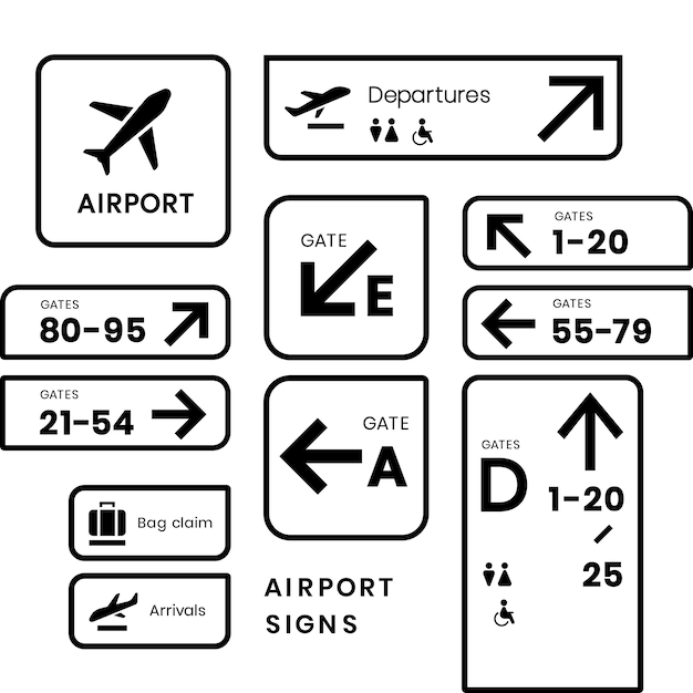 Airport signs icon vector set Free Vector
