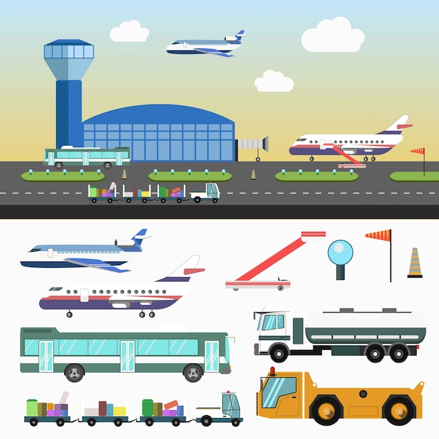Airport structure and special vehicles set on white Premium Vector
