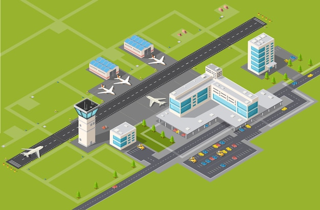 Airport terminal for arrival and departure Premium Vector
