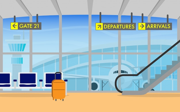 Premium Vector Airport Terminal Departure Area With Airplane In The Background