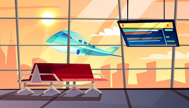 Airport terminal illustration of waiting hall with departure or arrival flight schedule Free Vector