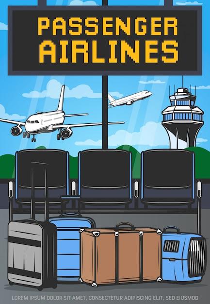 Терминал аэропорта и самолеты Premium векторы