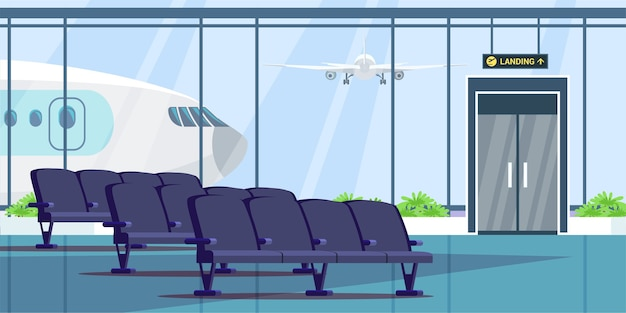 Airport terminal waiting room  illustration, wait hall interior. Premium Vector