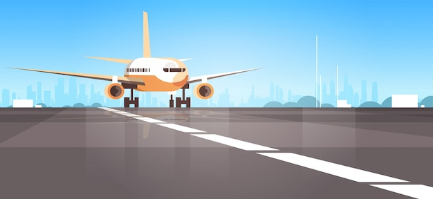 Терминал аэропорта с самолетом пролетел самолет взлетел городской фон Premium векторы