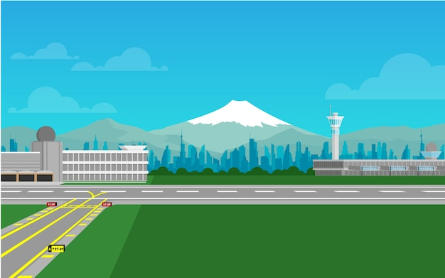 Airport terminal with runway and fuji mountain in the