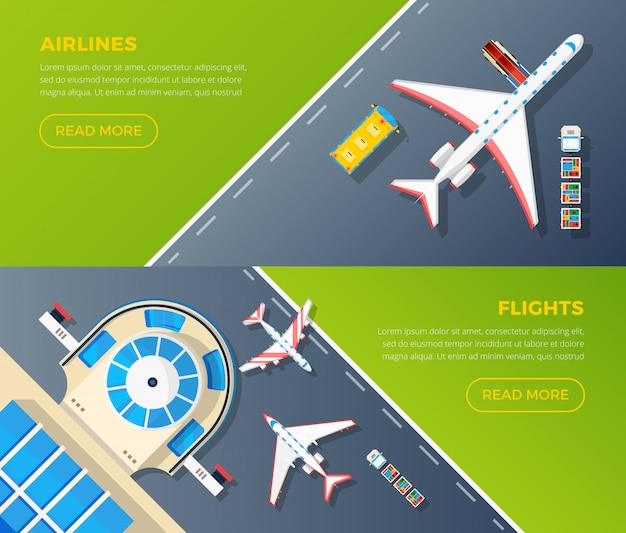 Airport top view banners set Free Vector