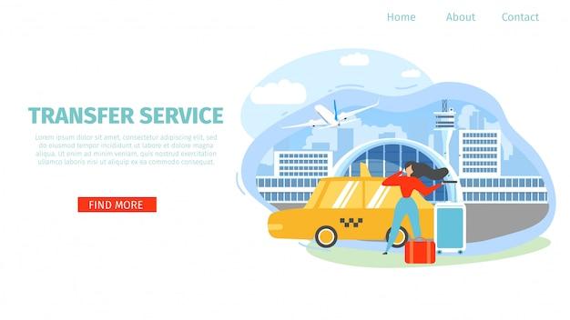 Airport transfer service flat vector landing page Premium Vector