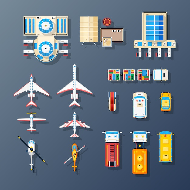 Airport transport and facilities elements collection Free Vector