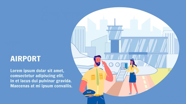 Airport vector web banner template with text space Premium Vector
