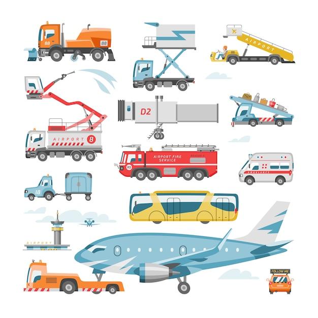 ターミナルとトラックの飛行機や旅客機のイラストセットで空港車両ベクトル航空輸送フライトサービス貨物とバスまたは白い背景で隔離のケータリング車両輸送 Premiumベクター