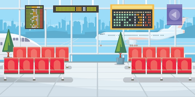 Airport with flight departure boards illustration Free Vector