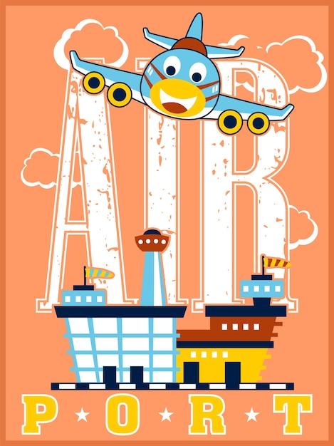 Аэропорт с забавным мультфильмом самолета Premium векторы