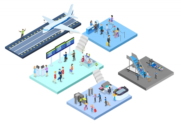 Airport with passenger set. check-in and security, waiting hall and registration. people with passport look at schedule. travel and tourist concept.   isometric illustration Premium Vector