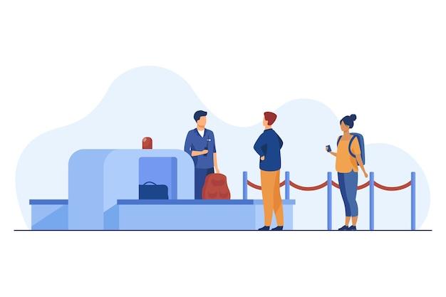 スキャナーで乗客の所持品をチェックする空港労働者。 無料ベクター